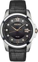 Seiko Men's Solar Le Grand Sport Diamond Accent Black Leather Strap Watch 42mm SNE427