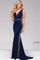 Jovani Fitted Jersey V-Neck Prom Dress 42321