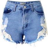 U-WARDROB Sexy Lace Stitching Denim Shorts for Women and Girls Hot Summer Shorts