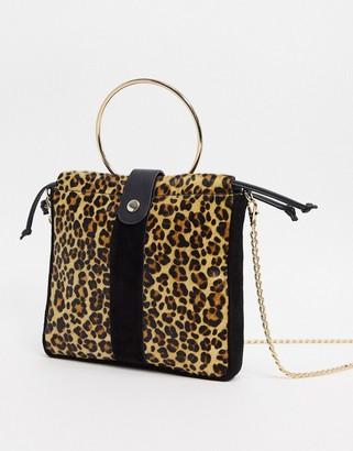 Urban Code Urbancode real leather leopard shoulder bag with hardware handle