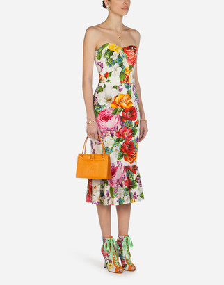 Dolce & Gabbana Longuette Bustier Dress In Charmeuse With Mixed Flower Print