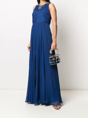 Bead-Embellished Neck Evening Dress