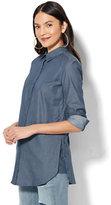 New York & Co. 7th Avenue - Madison Stretch Shirt - Buttoned Side-Vent Tunic Shirt - Medium Blue Wash