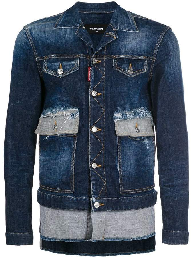 DSQUARED2 asymmetric distressed denim jacket