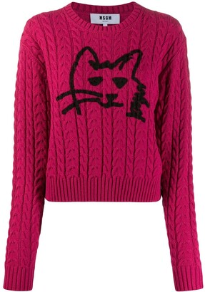 MSGM Cable Knit Cat Sweater