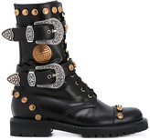 Fausto Puglisi studded buckled mid-calf boots - women - Leather/rubber - 36
