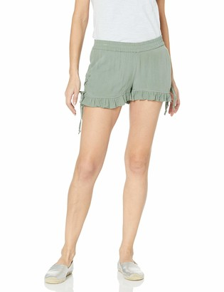 Derek Heart Women's Ruffled Hem Short with Lace up Side