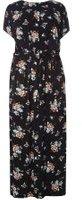 Dorothy Perkins Womens DP Curve Plus Size Floral Jersey Cold Shoulder Maxi Dress- Black