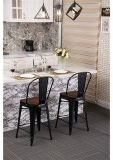 Overstock Andeworld High Back Industrial Indoor Outdoor Bar Chairs Metal Bar Stools with Wooden Seat?Set of 4) 30 inch