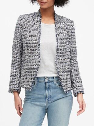 Banana Republic Petite Collarless Metallic Tweed Blazer