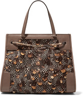 Valentino Python and leather-trimmed calf hair tote