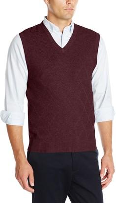 Haggar Men's Heather Diamond Texture Stitch V-Neck Sweater Vest