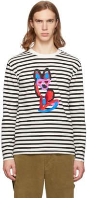 MAISON KITSUNÉ Black and White Marin Acide Fox T-Shirt