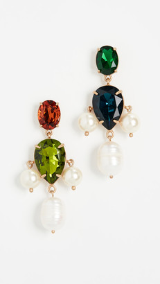 Tory Burch Pearl Multi Stone Drop Earrings