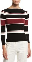 Veronica Beard Audrey Striped Sweater, Black