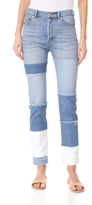 Rebecca Taylor Patched Mid Rise Straight Ankle Jeans