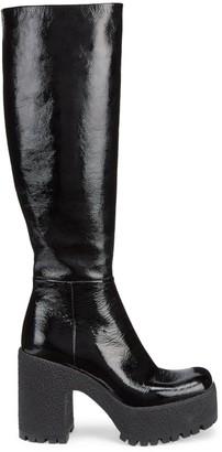 Miu Miu Lug-Sole Tall Patent Combat Boots