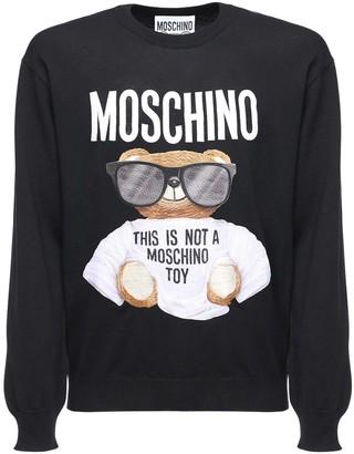 Moschino Logo Embroidery Knit Wool Sweater
