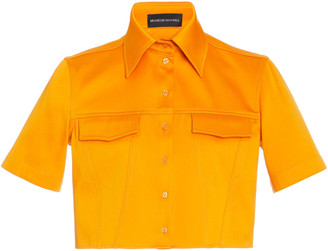 Brandon Maxwell Cropped Cotton-Poplin Shirt