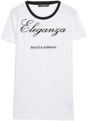 Dolce & Gabbana Embroidered Flocked Cotton-jersey T-shirt