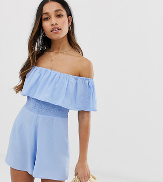 Asos DESIGN Petite off shoulder ruffle playsuit with shirring-Blue