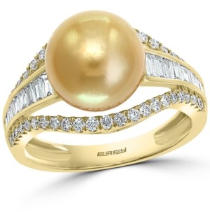 Effy Cultured Golden South Sea Pearl (10mm) & Diamond (5/8 ct. t.w.) Ring in 14k Gold
