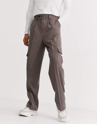 Asos Design DESIGN high waisted wide leg smart trousers with contrast stitch and cargo pockets in brown