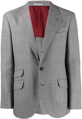 Brunello Cucinelli Check Print Suit Jacket