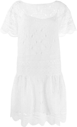 Alberta Ferretti macrame lace insert dress