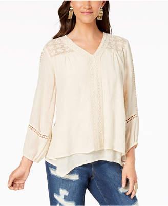 Style&Co. Style & Co Petite Layered-Hem Crochet Woven Top