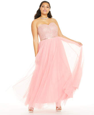 City Studios Trendy Plus Size Embellished Embroidered Tulle Gown