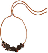 Marni Leather, gold-tone, resin and crystal necklace