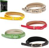 BMC Womens 5pc Mix Color Faux Leather Fashion Statement Skinny Belt Bundle-Set 1