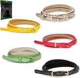 BMC Womens 5pc Mix Color Faux Leather Fashion Statement Skinny Belt Bundle-Set 3