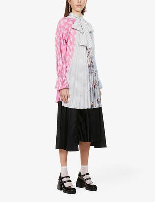 MSGM Stripe and floral-print woven-pleated mini dress