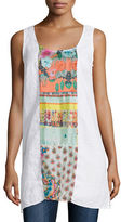 Johnny Was Patchwork Scoop-Neck Sleeveless Linen Tunic