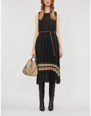 Brunello Cucinelli Pleated stretch-wool midi dress