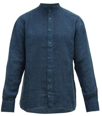 120% Lino Band Collar Slubbed-linen Poplin Shirt - Mens - Navy