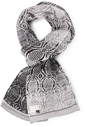 Studio Myr Luxurious Knitted Cotton Scarf With Graphical Pattern In Classical Colours Elements - Rock
