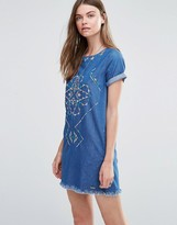 Pepe Jeans Martha Denim Embroidered Dress