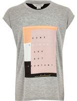 River Island Girls grey woven patch t-shirt