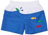 Florence Eiseman Colorblock Fish Swim Trunks, Blue, Size 6-24 Months
