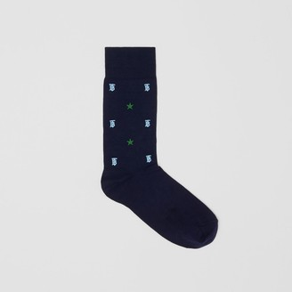 Burberry Star and Monogram Motif Cotton Bend Socks