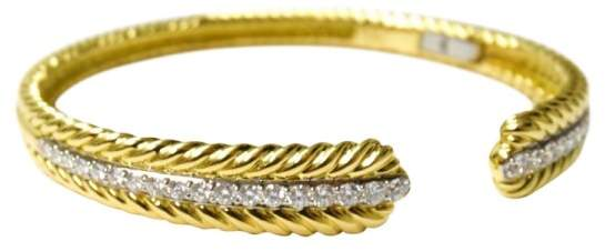 David Yurman 18K Yellow Gold and Diamond Classic Cable Cuff Bracelet