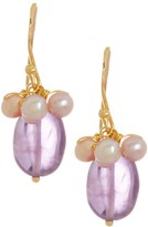 Candela 18K Yellow Gold Plated Sterling Silver Amethyst & 4mm Cultured Pink Freshwater Pearl Drop Earrings