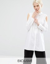 Monki Exclusive Cold Shoulder Shirt