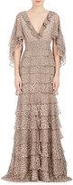 J. Mendel Women's Leopard-Print Silk Chiffon Capelet Gown