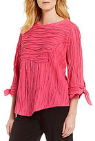 IC Collection 3/4 Tie-Up Sleeves Solid Textured Top