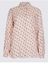 M&S Collection Bird Print Long Sleeve Shirt