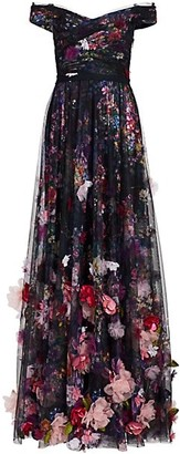 Marchesa Notte 3D Floral Embroidered Tulle Gown